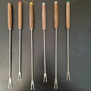 Other - Six Fondue Forks with Colored Tips